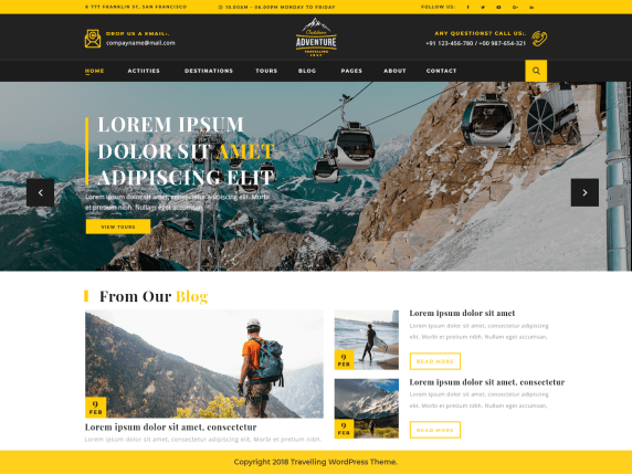 10 best free travel blog WordPress theme in 2021 | Adventure Travelling